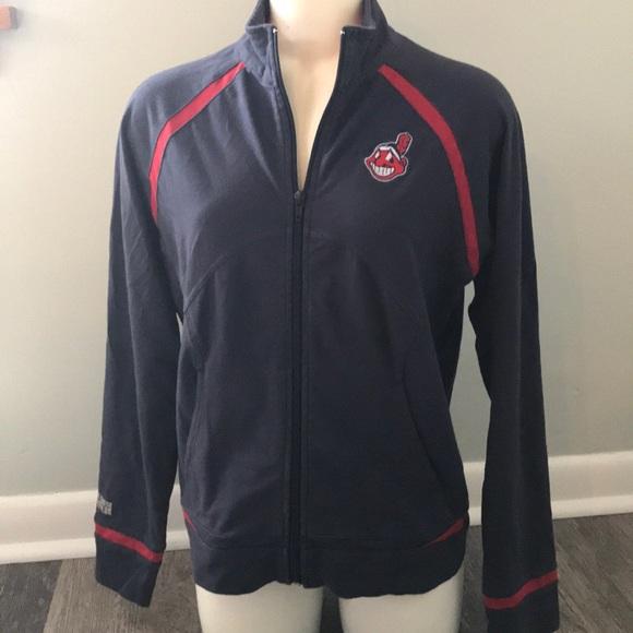 Major League Fitness Tops - Women s Cleveland Indians zip up medium shirt  blue b66af74e7